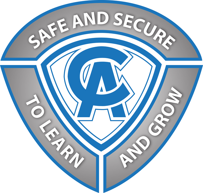 C-A crest logo with safe and secure, to learn, and grow surrounding it