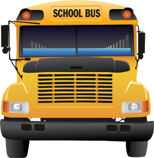 Clipart image of the front view of a school bus.