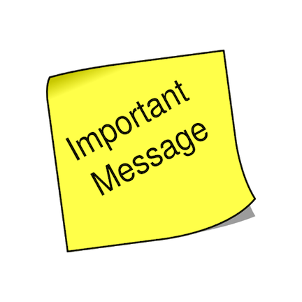"Clipart image of a yellow sticky note with the words ""Important Message"" written on it."