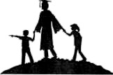 Silhouette clipart image of parent and two children