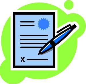 Clipart image of a piece of paper with a seal and a pen