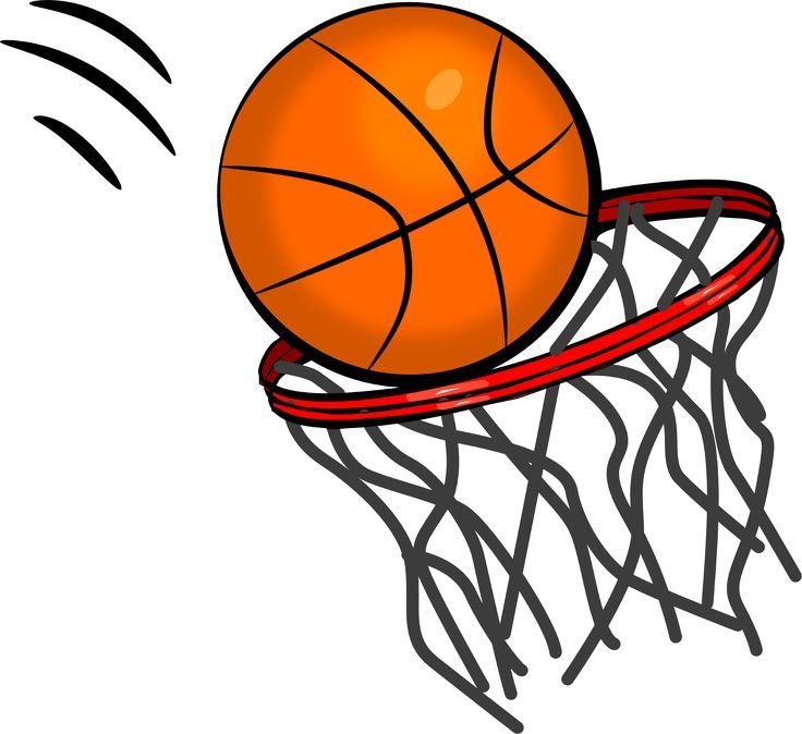 Cliipart image of a basketball entering a basketball hoop
