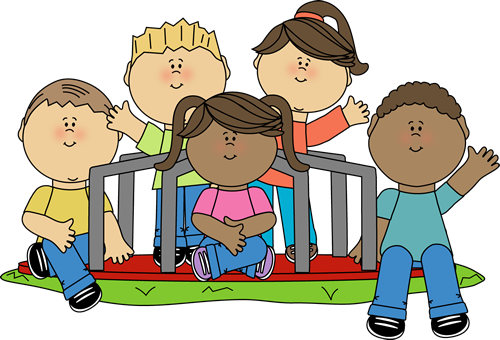 Clipart image of kids on a merry go round