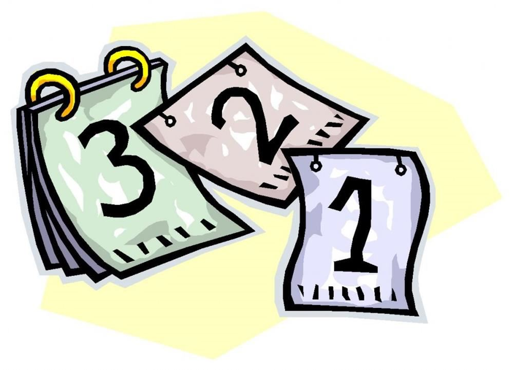 Clipart image of days coming off a calendar