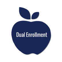Dual Enrollment written on a blue apple image