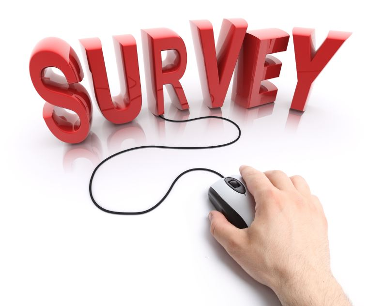 "Clipart image of the word ""Survey"" and a person's hand holding a computer mouse."