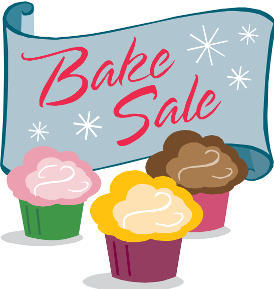 Clipart image of cookies and cupcakes for a bake sale
