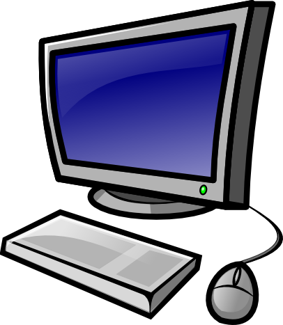 clipart image of a computer monitor, keyboard, and mouse