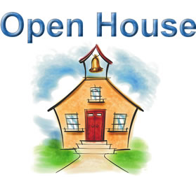 Open house clipart with image of a school house