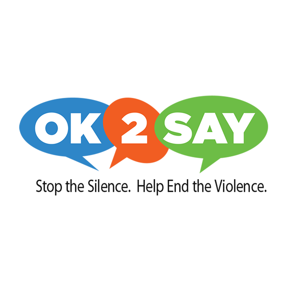 "Clipart image of the ""OK to Say"" logo with the words ""Stop the Silence. Help End the Violence."""