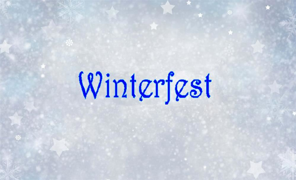 WinterFest on a grey snowflake background